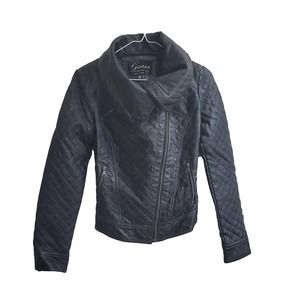 Guess Faux Leather Quilted Motorcycle Jacket Sz XS